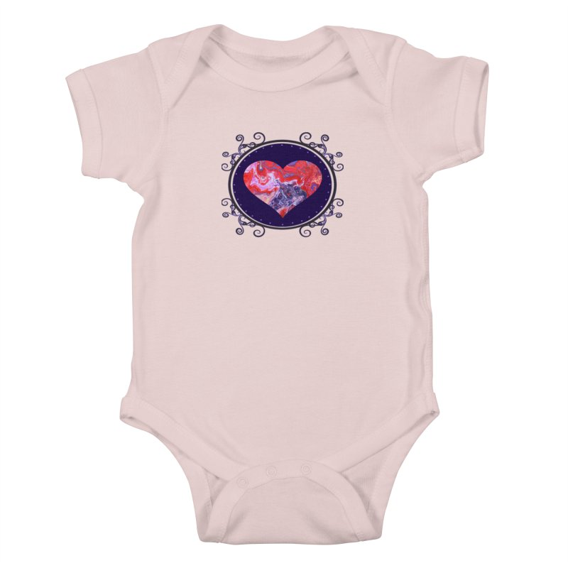Red and Purple Acrylic Flow Kids Baby Bodysuit by Creations of Joy's Artist Shop
