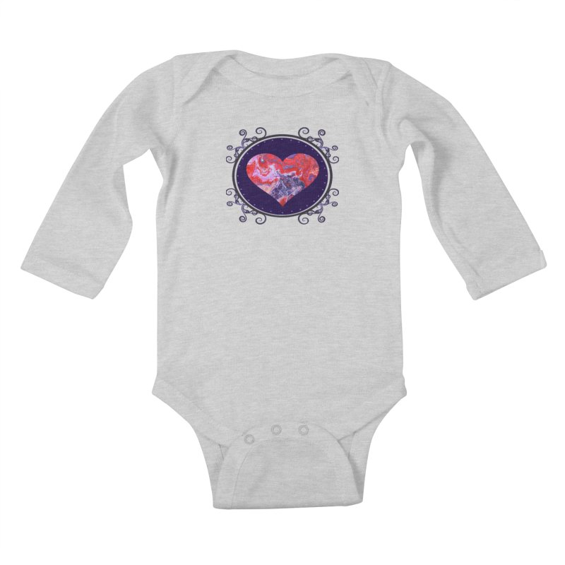 Red and Purple Acrylic Flow Kids Baby Longsleeve Bodysuit by Creations of Joy's Artist Shop