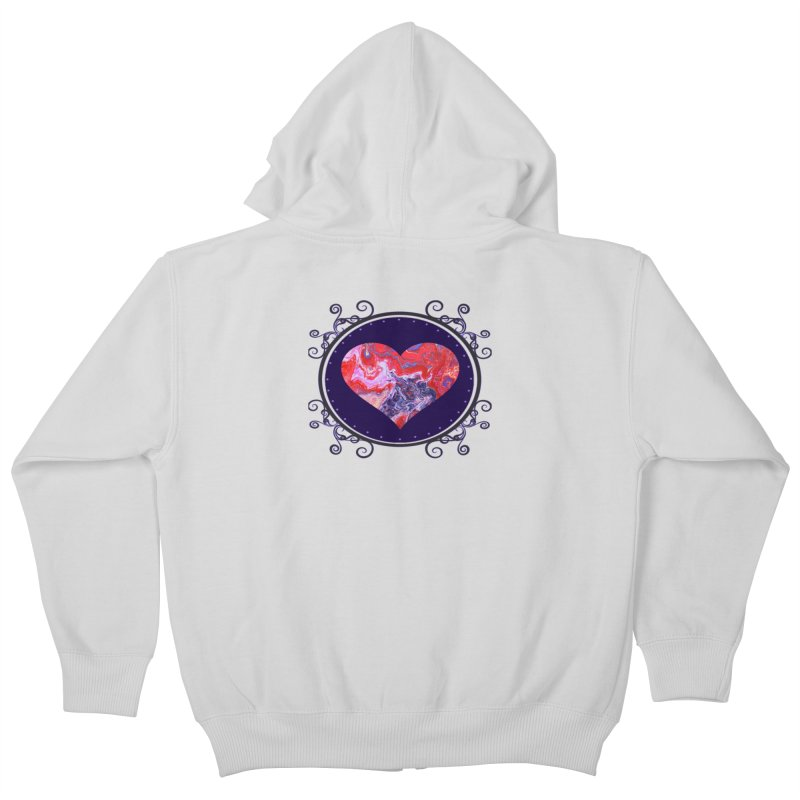 Red and Purple Acrylic Flow Kids Zip-Up Hoody by Creations of Joy's Artist Shop