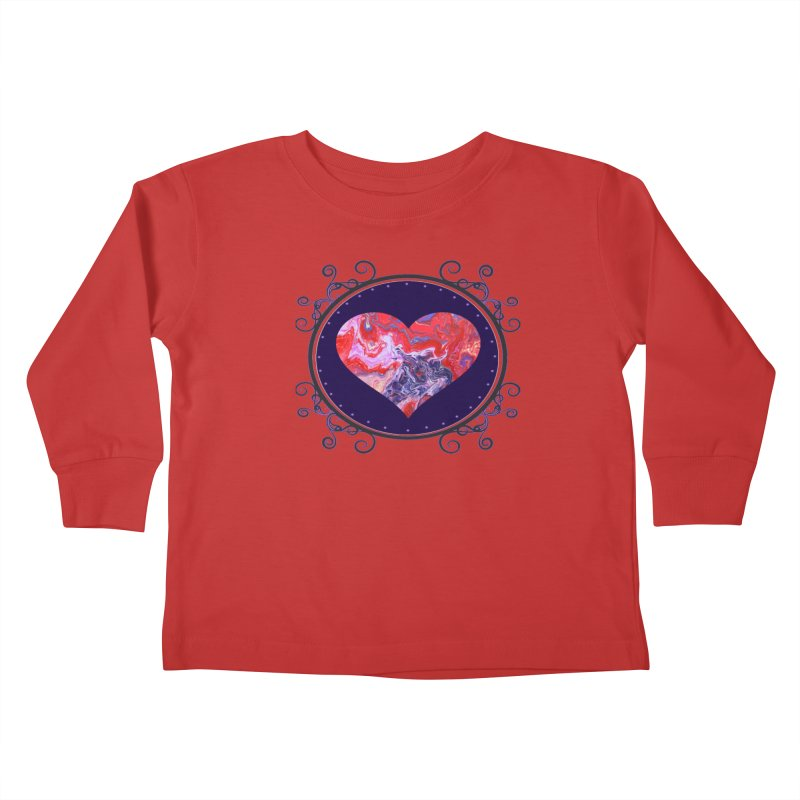 Red and Purple Acrylic Flow Kids Toddler Longsleeve T-Shirt by Creations of Joy's Artist Shop