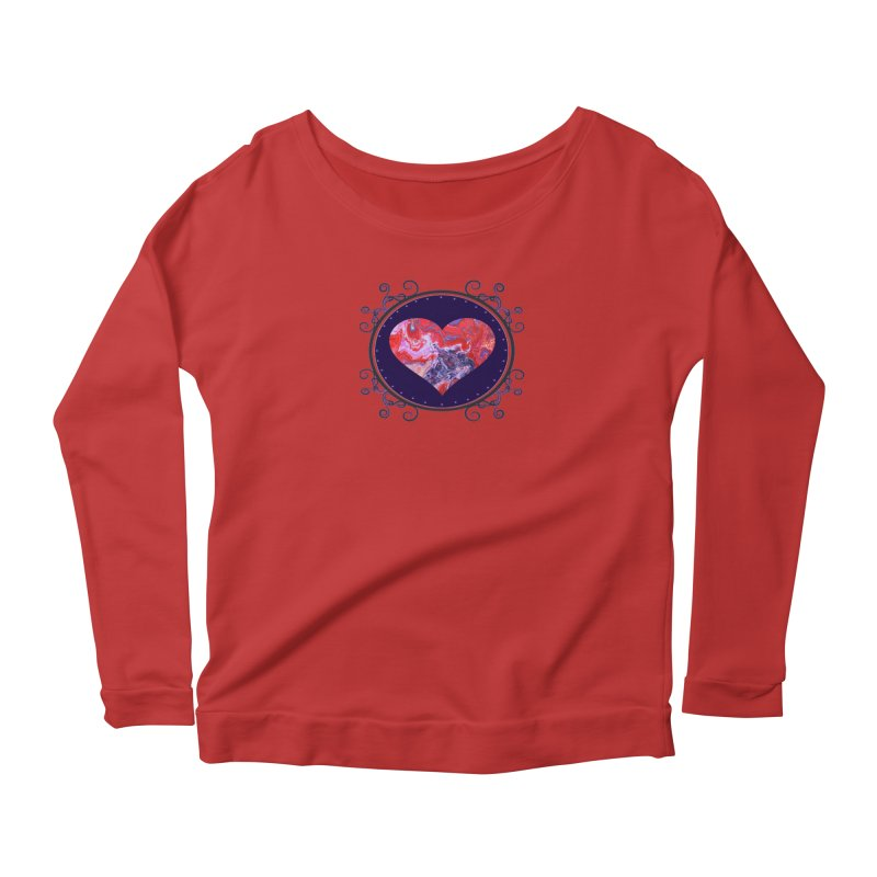 Red and Purple Acrylic Flow Women's Scoop Neck Longsleeve T-Shirt by Creations of Joy's Artist Shop