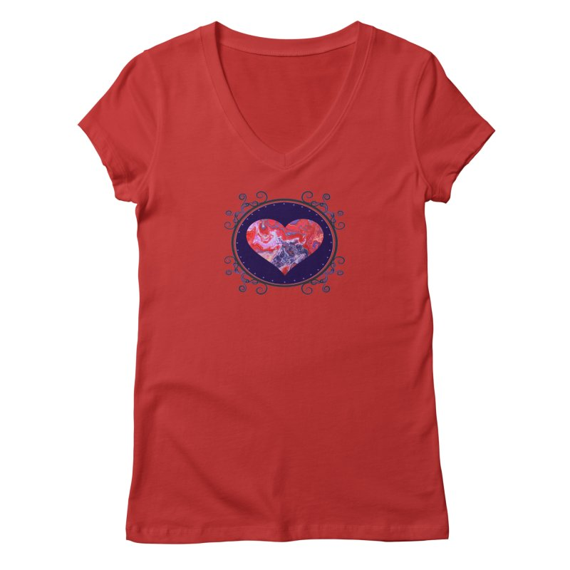 Red and Purple Acrylic Flow Women's Regular V-Neck by Creations of Joy's Artist Shop
