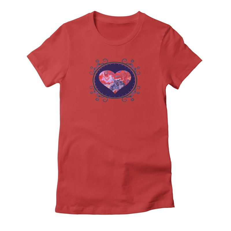 Red and Purple Acrylic Flow Women's Fitted T-Shirt by Creations of Joy's Artist Shop