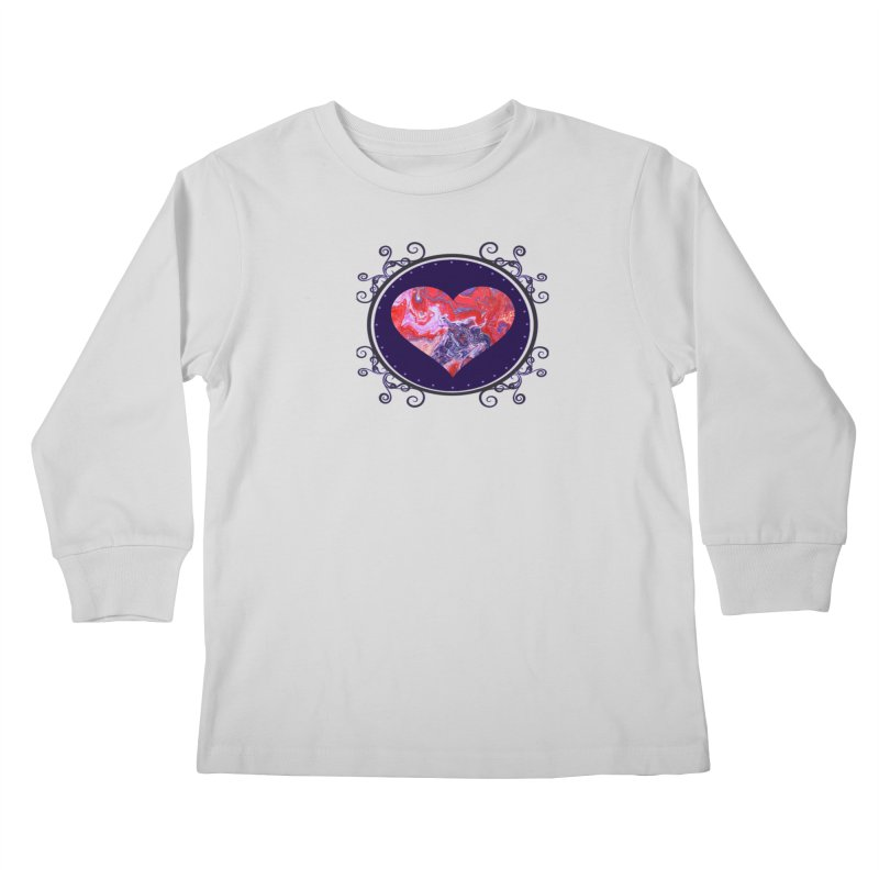 Red and Purple Acrylic Flow Kids Longsleeve T-Shirt by Creations of Joy's Artist Shop