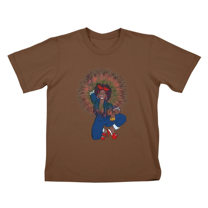 Black Woman's Roar Kids T-shirt by The Shop of Creative Ether