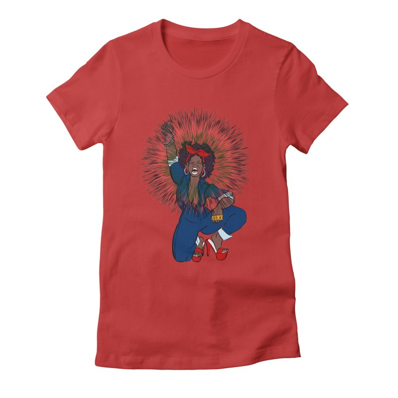 Black Woman's Roar Women's Fitted T-Shirt by The Shop of Creative Ether
