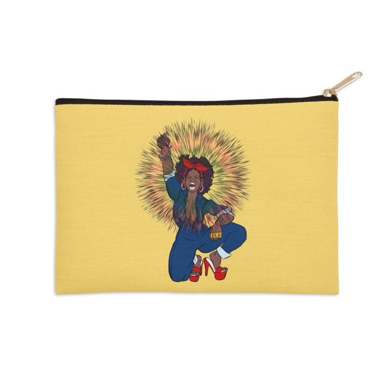 Black Woman's Roar Accessories Zip Pouch by The Shop of Creative Ether