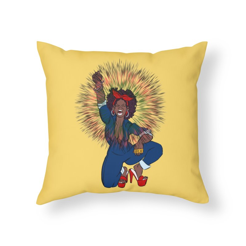 Black Woman's Roar Home Throw Pillow by The Shop of Creative Ether