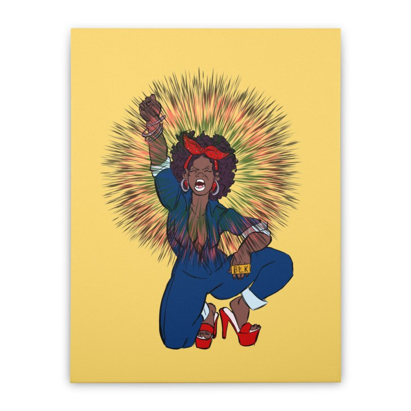 Black Woman's Roar Home Stretched Canvas by The Shop of Creative Ether