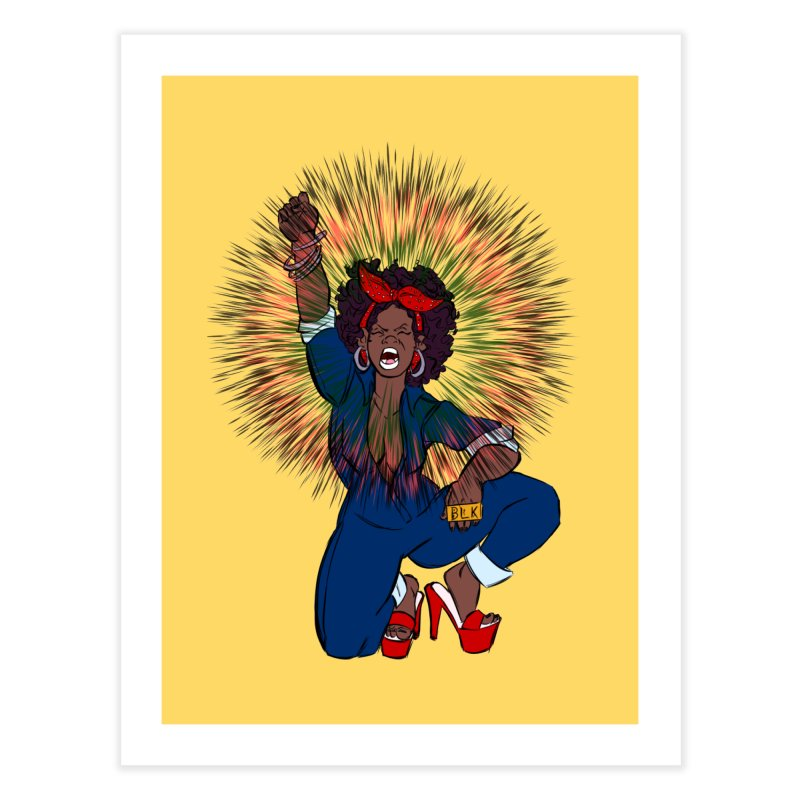 Black Woman's Roar Home Fine Art Print by The Shop of Creative Ether