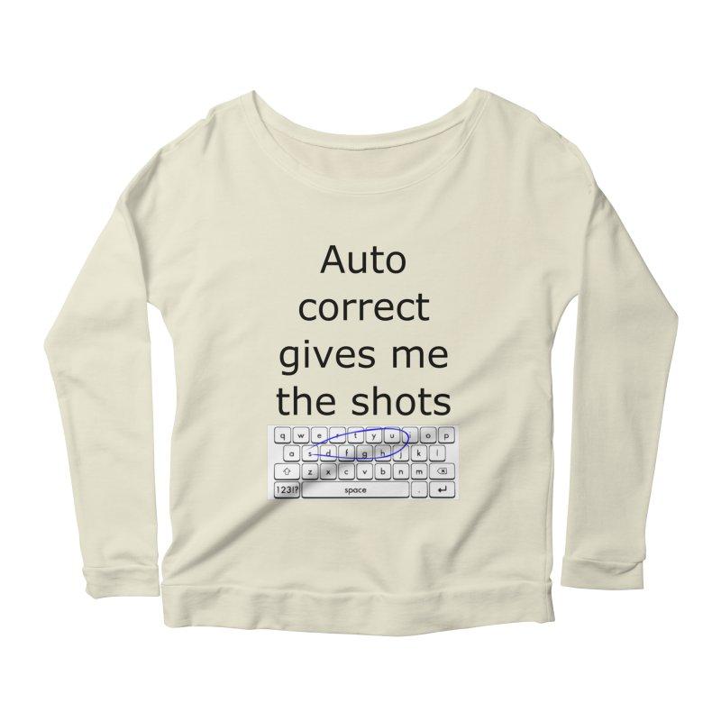Auto correct Women's Longsleeve Scoopneck  by creativehack's Artist Shop