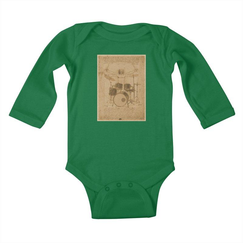 Vitruvius Percussionus Kids Baby Longsleeve Bodysuit by creativehack's Artist Shop