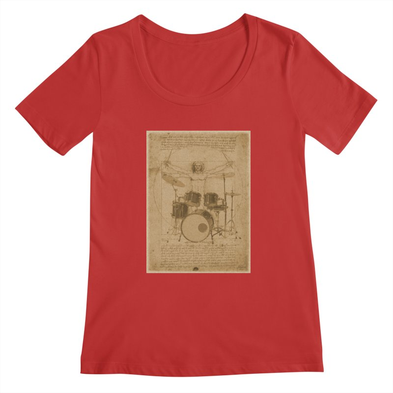 Vitruvius Percussionus Women's Scoopneck by creativehack's Artist Shop
