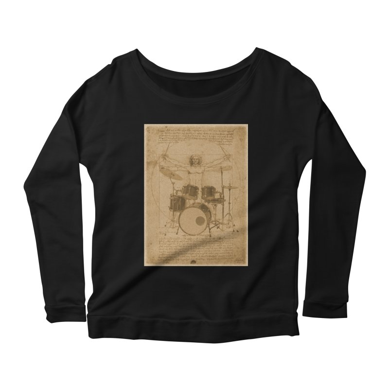 Vitruvius Percussionus Women's Longsleeve Scoopneck  by creativehack's Artist Shop