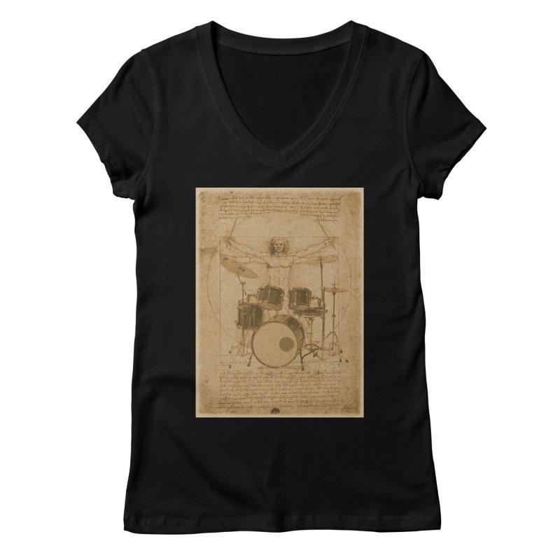 Vitruvius Percussionus Women's V-Neck by creativehack's Artist Shop