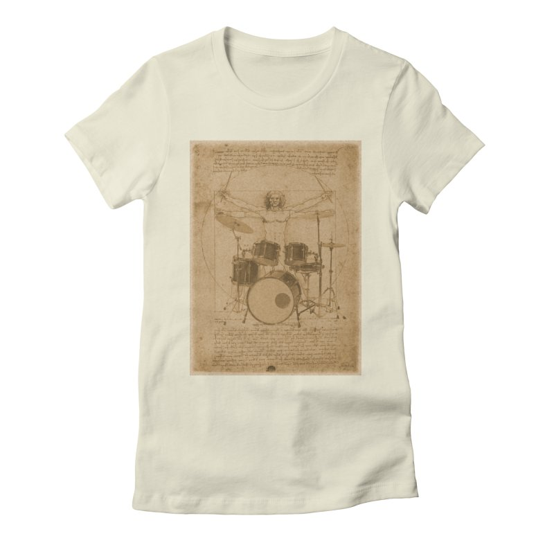Vitruvius Percussionus in Women's Fitted T-Shirt Natural by creativehack's Artist Shop