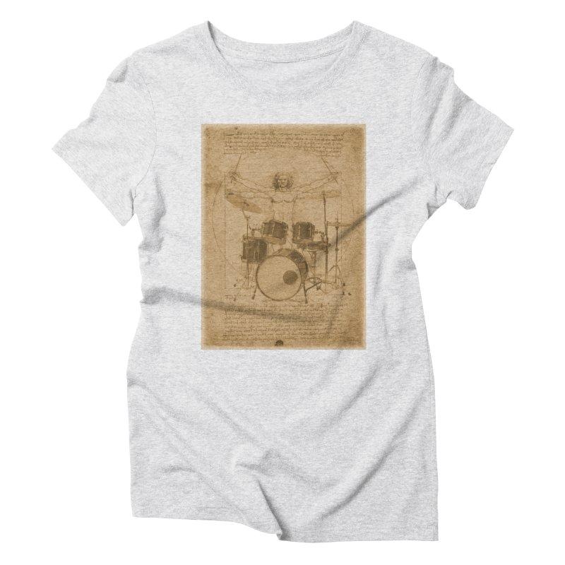 Vitruvius Percussionus Women's Triblend T-Shirt by creativehack's Artist Shop