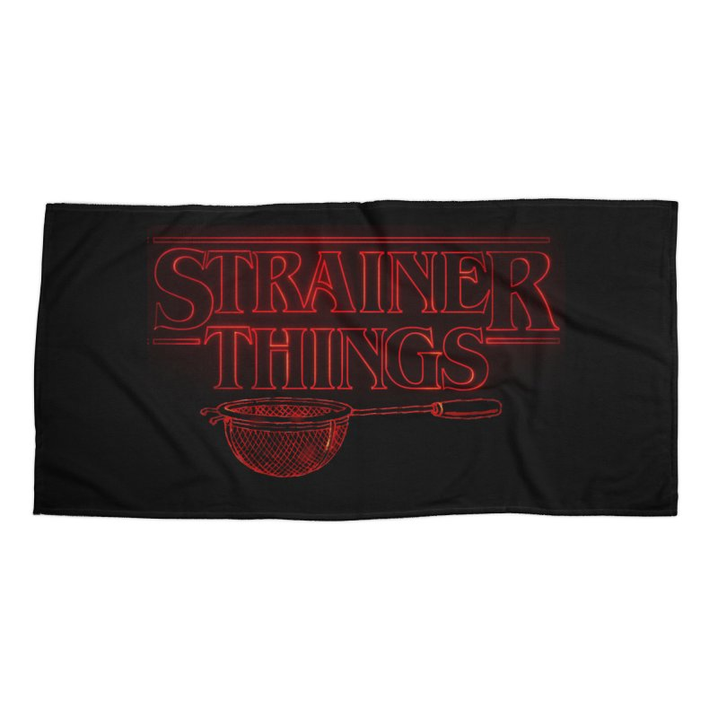 Strainer Things Accessories Beach Towel by creativehack's Artist Shop