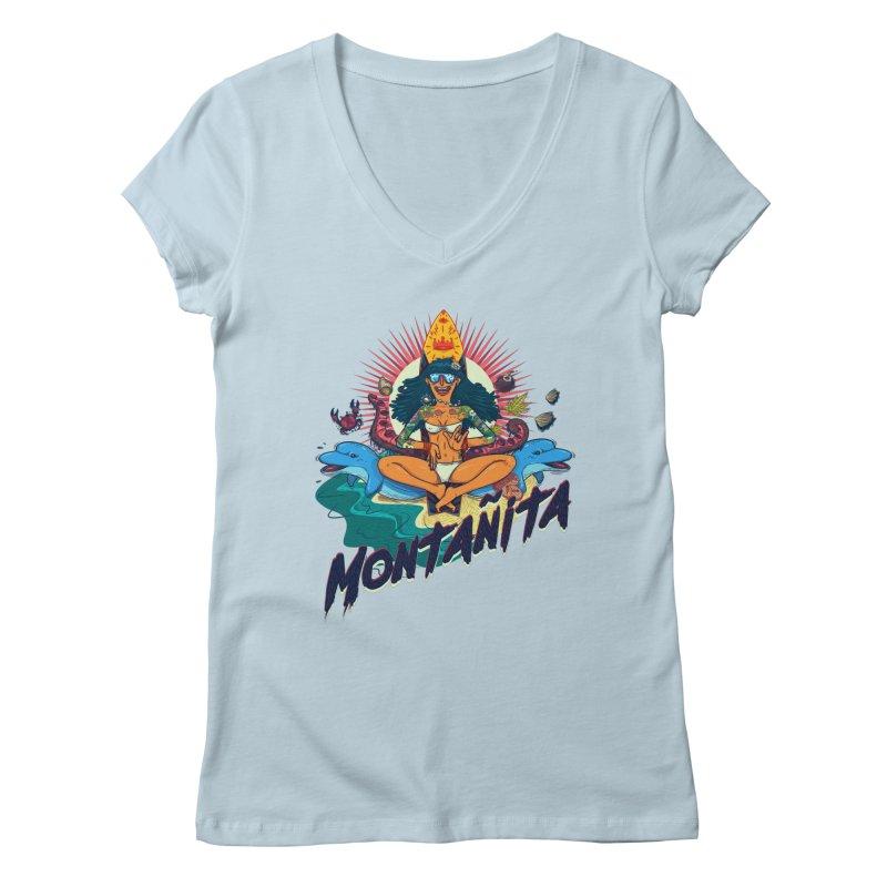 Montañita Women's V-Neck by creativosindueno's Artist Shop