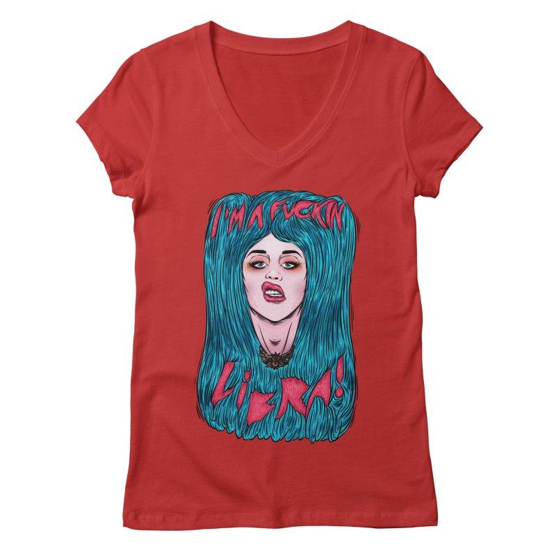 I'm a fuckin libra! Women's Regular V-Neck by creativosindueno's Artist Shop