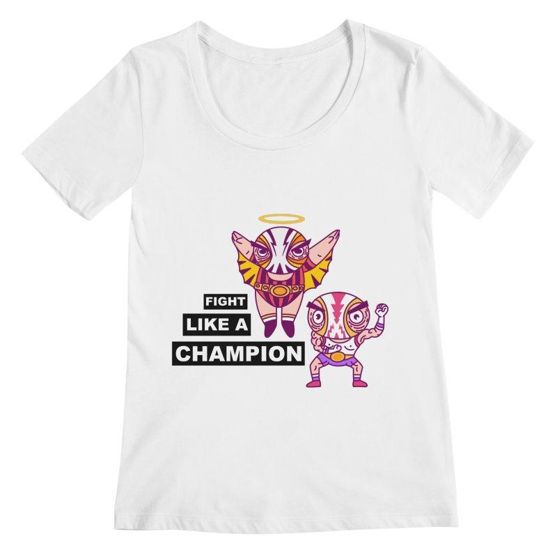fight like a champion Women's Regular Scoop Neck by creativosindueno's Artist Shop