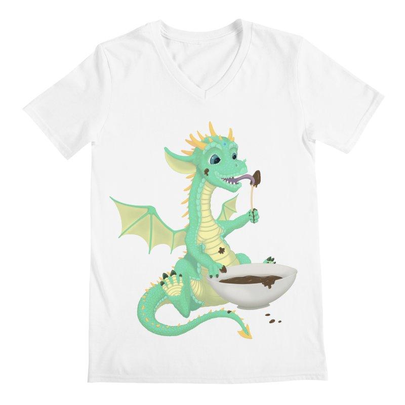 Helper Dragon Men's Regular V-Neck by Creaturista's Fine Goods