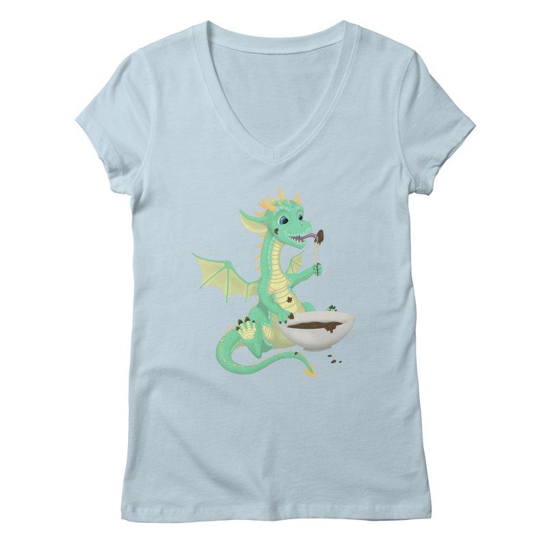 Helper Dragon Women's Regular V-Neck by Creaturista's Fine Goods