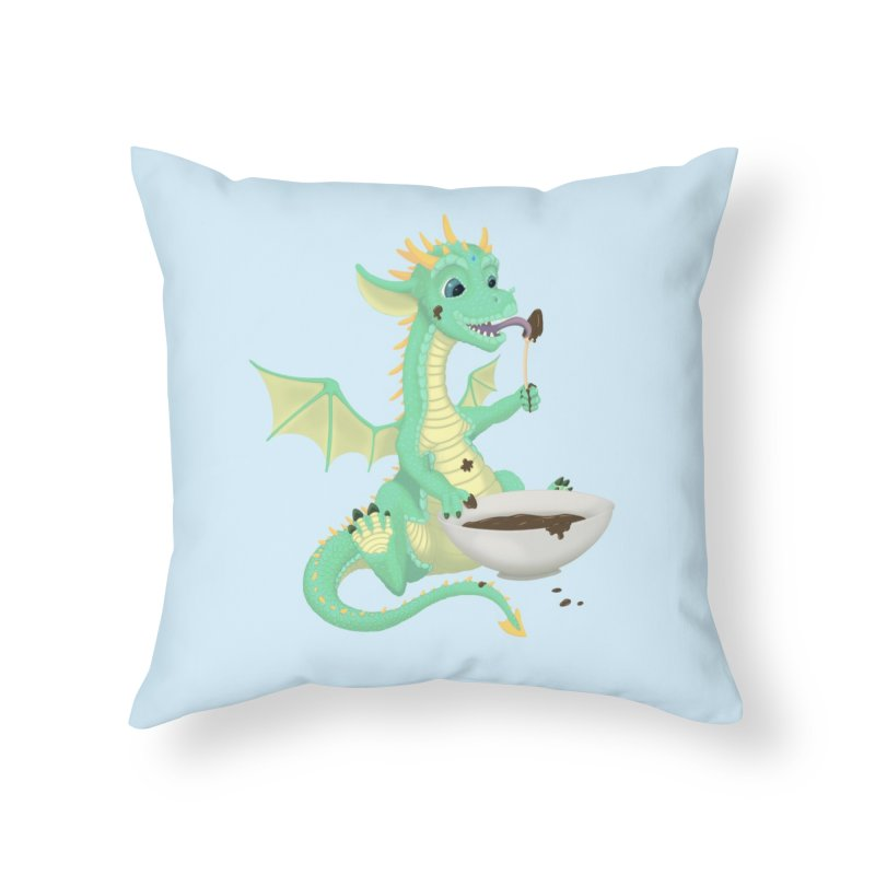 Helper Dragon Home Throw Pillow by Creaturista's Fine Goods