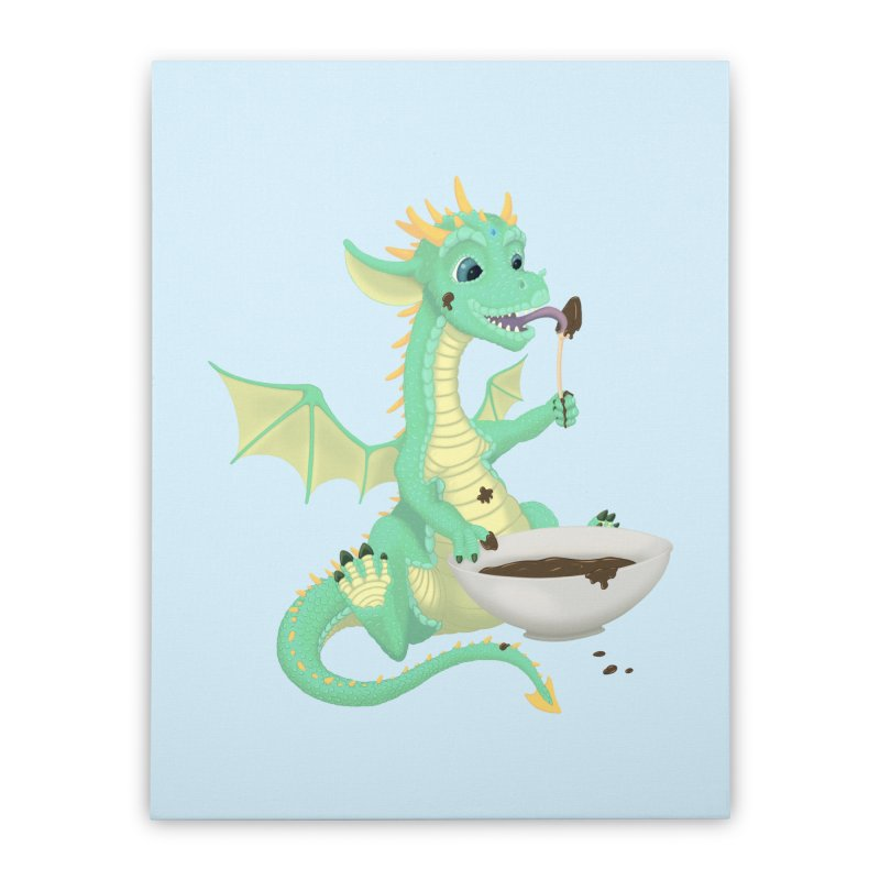 Helper Dragon Home Stretched Canvas by Creaturista's Fine Goods