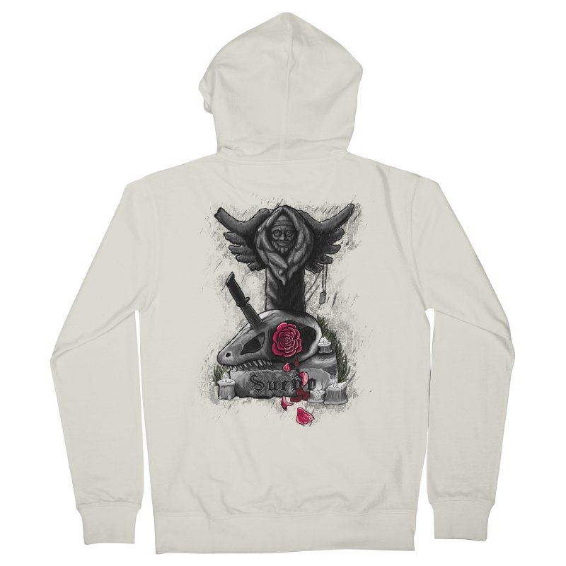 Raptor Skull Men's French Terry Zip-Up Hoody by Creaturista's Fine Goods