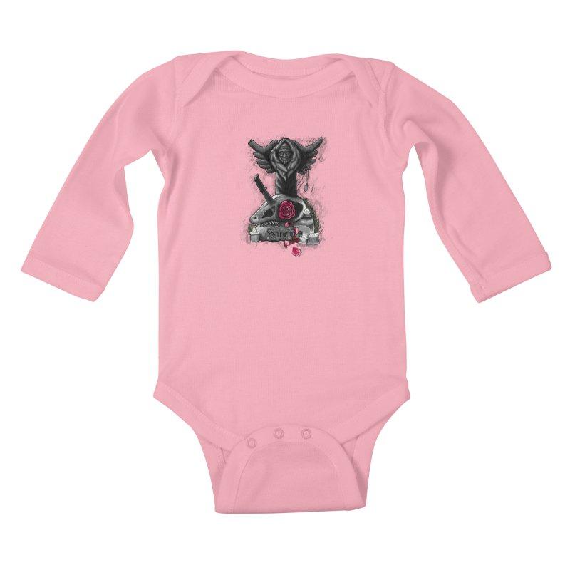 Raptor Skull Kids Baby Longsleeve Bodysuit by Creaturista's Fine Goods