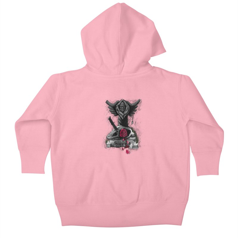 Raptor Skull Kids Baby Zip-Up Hoody by Creaturista's Fine Goods