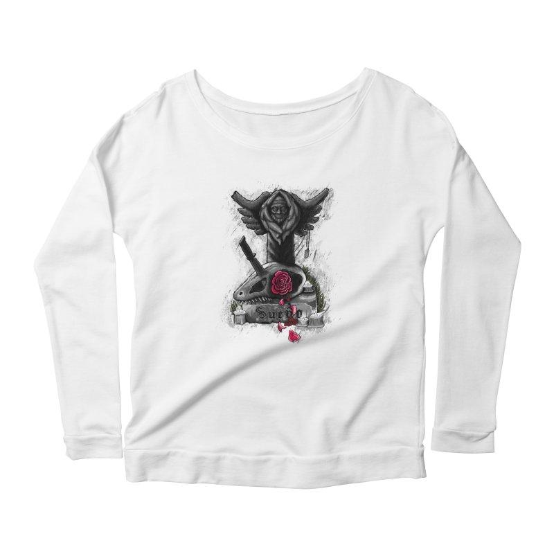 Raptor Skull Women's Scoop Neck Longsleeve T-Shirt by Creaturista's Fine Goods