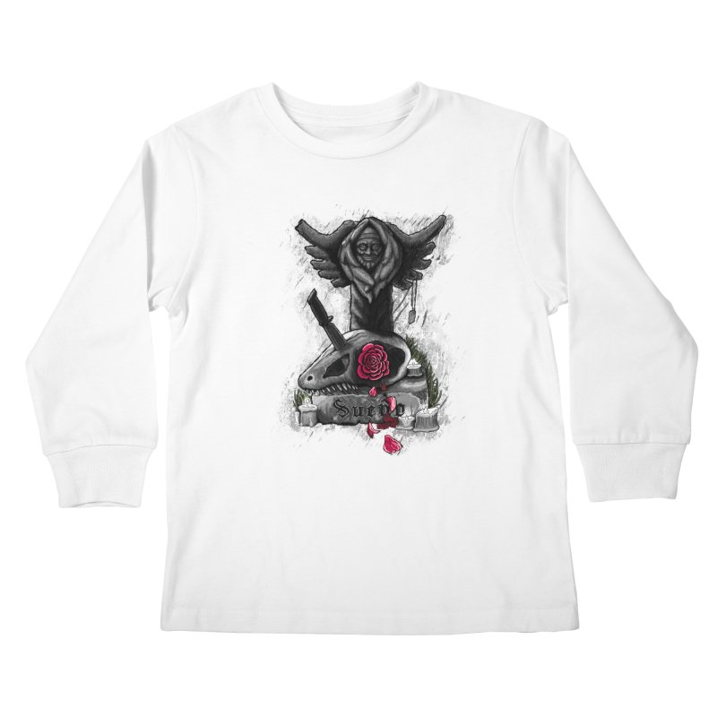 Raptor Skull Kids Longsleeve T-Shirt by Creaturista's Fine Goods