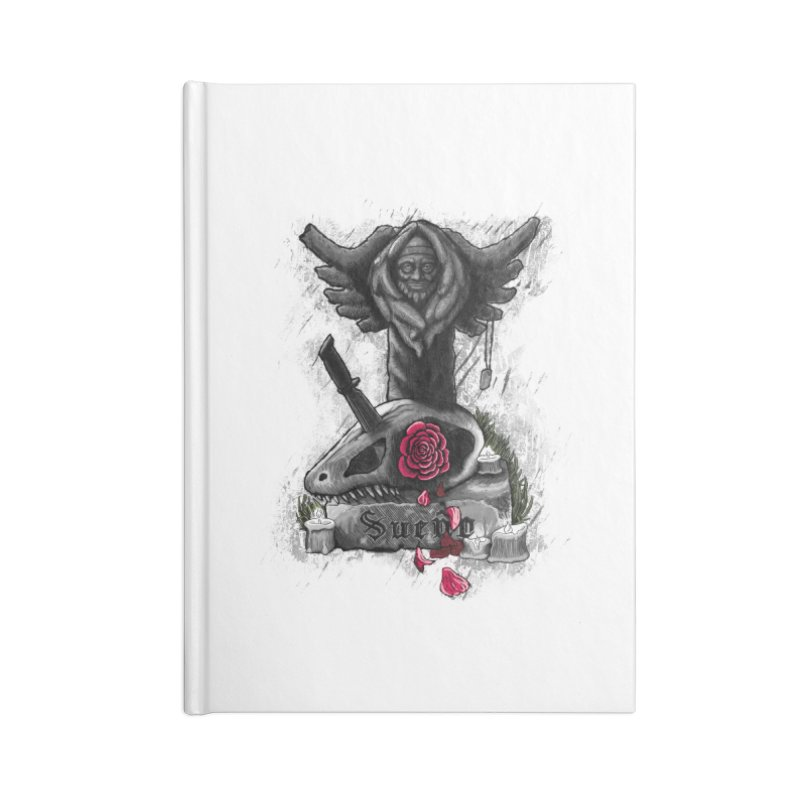 Raptor Skull Accessories Blank Journal Notebook by Creaturista's Fine Goods