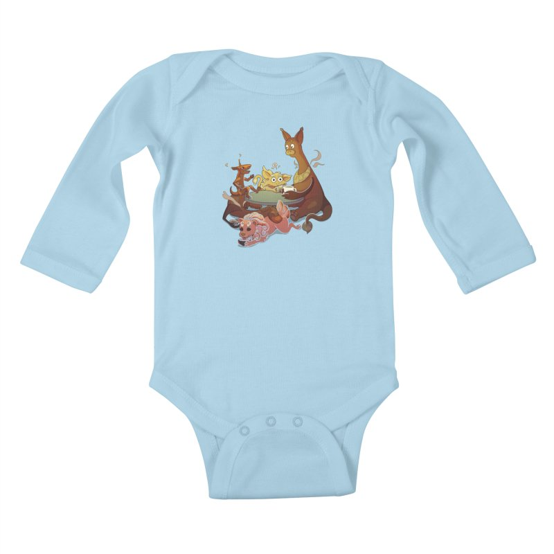 Coffee Party Kids Baby Longsleeve Bodysuit by Creaturista's Fine Goods