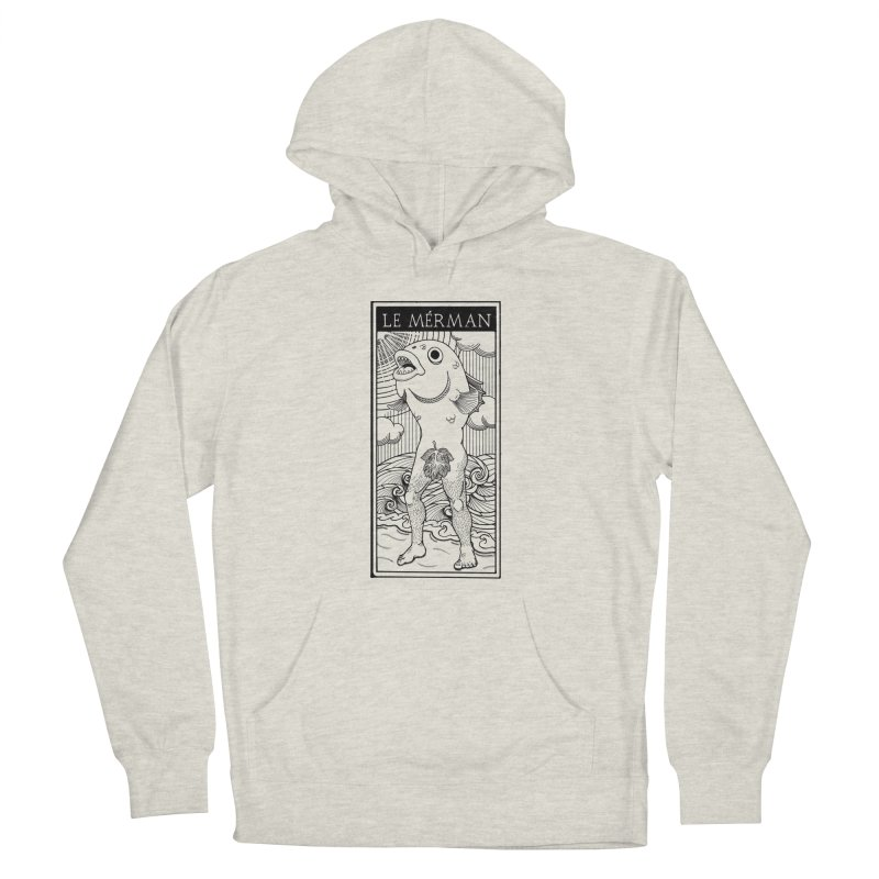 The Merman (light shirt version) Men's French Terry Pullover Hoody by Creaturista's Fine Goods