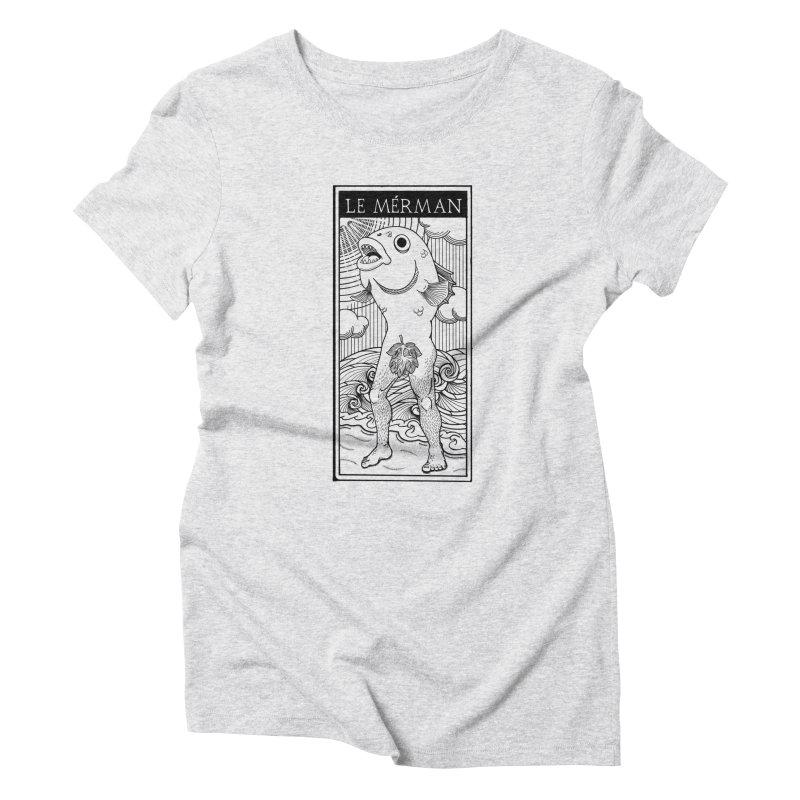 The Merman (light shirt version) Women's Triblend T-Shirt by Creaturista's Fine Goods