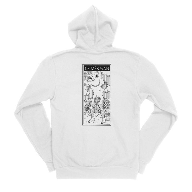 The Merman (light shirt version) Men's Sponge Fleece Zip-Up Hoody by Creaturista's Fine Goods