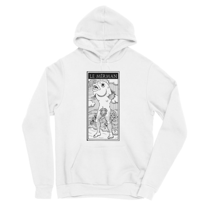 The Merman (light shirt version) Women's Sponge Fleece Pullover Hoody by Creaturista's Fine Goods