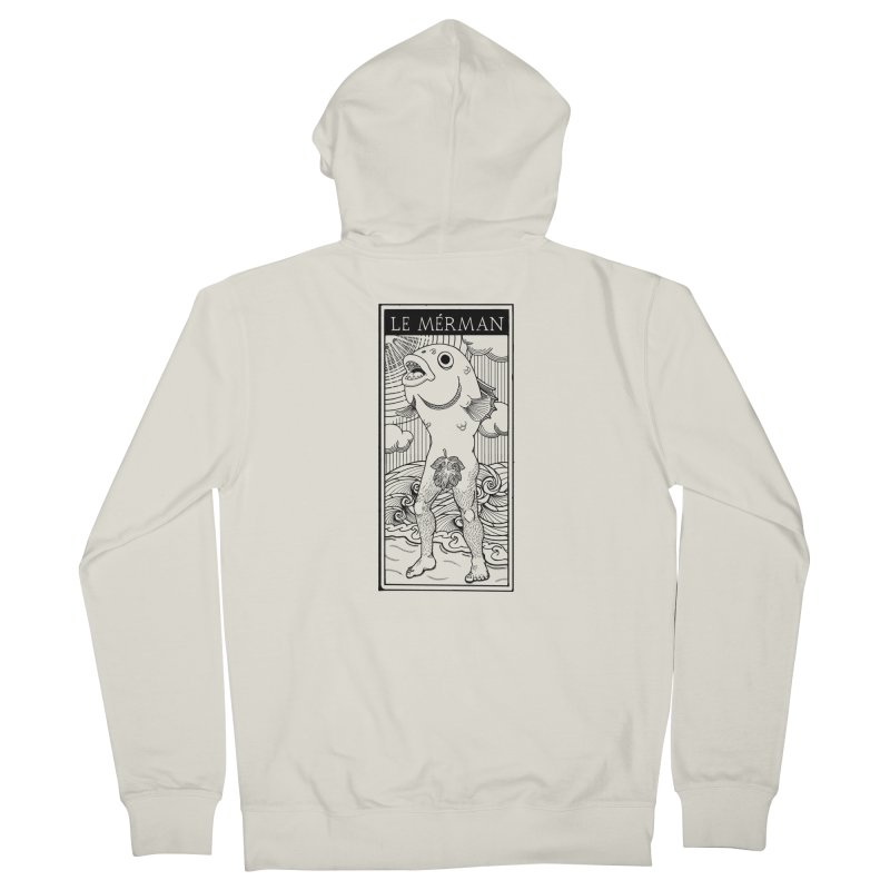 The Merman (light shirt version) Men's French Terry Zip-Up Hoody by Creaturista's Fine Goods