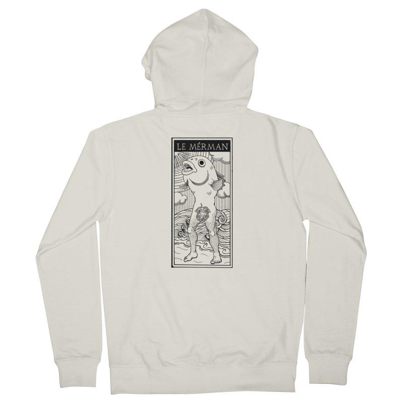 The Merman (light shirt version) Men's Zip-Up Hoody by Creaturista's Fine Goods