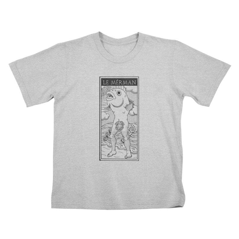 The Merman (light shirt version) Kids T-Shirt by Creaturista's Fine Goods