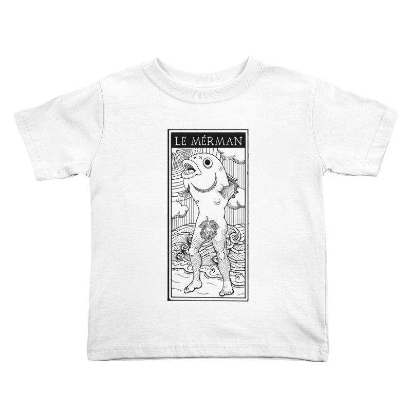 The Merman (light shirt version) Kids Toddler T-Shirt by Creaturista's Fine Goods