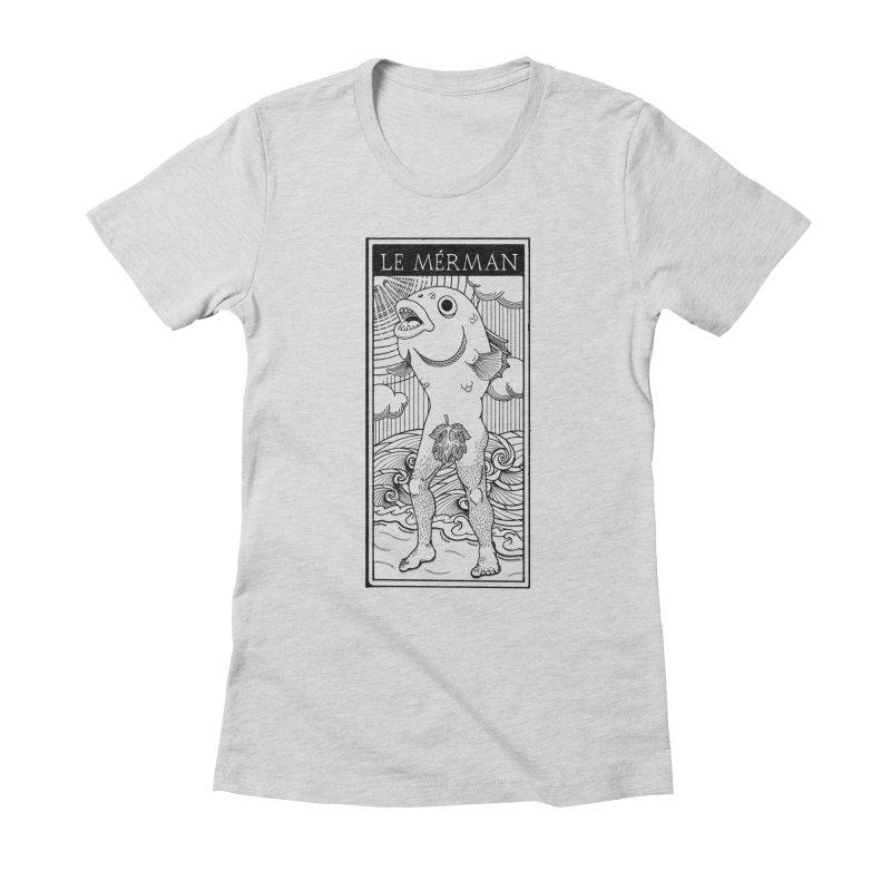 The Merman (light shirt version) Women's Fitted T-Shirt by Creaturista's Fine Goods