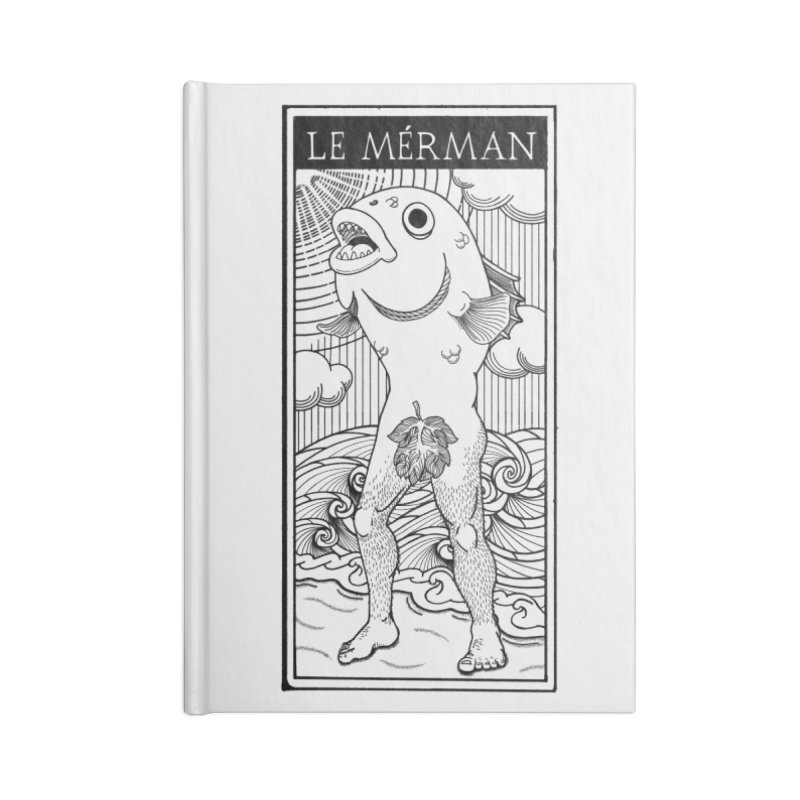 The Merman (light shirt version) Accessories Lined Journal Notebook by Creaturista's Fine Goods
