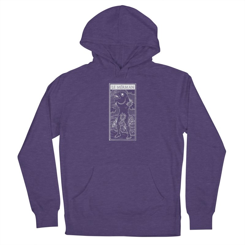 The Merman (dark shirt version) Men's French Terry Pullover Hoody by Creaturista's Fine Goods