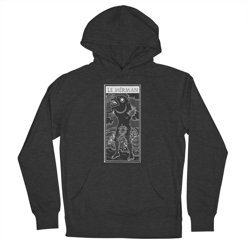The Merman (dark shirt version) Women's French Terry Pullover Hoody by Creaturista's Fine Goods