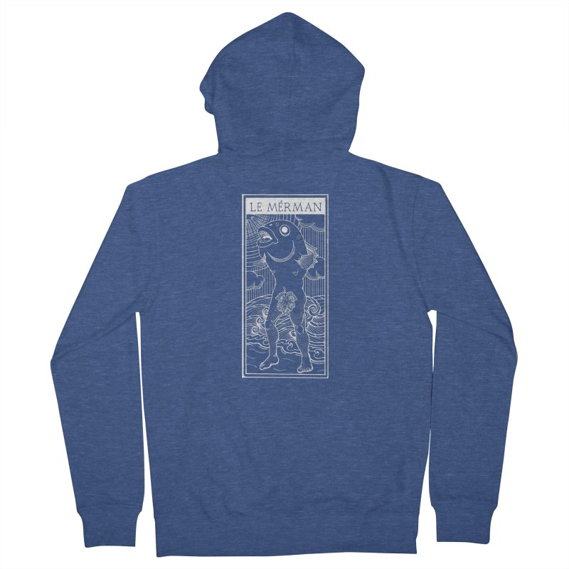 The Merman (dark shirt version) Women's French Terry Zip-Up Hoody by Creaturista's Fine Goods