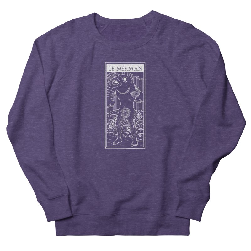 The Merman (dark shirt version) Men's French Terry Sweatshirt by Creaturista's Fine Goods